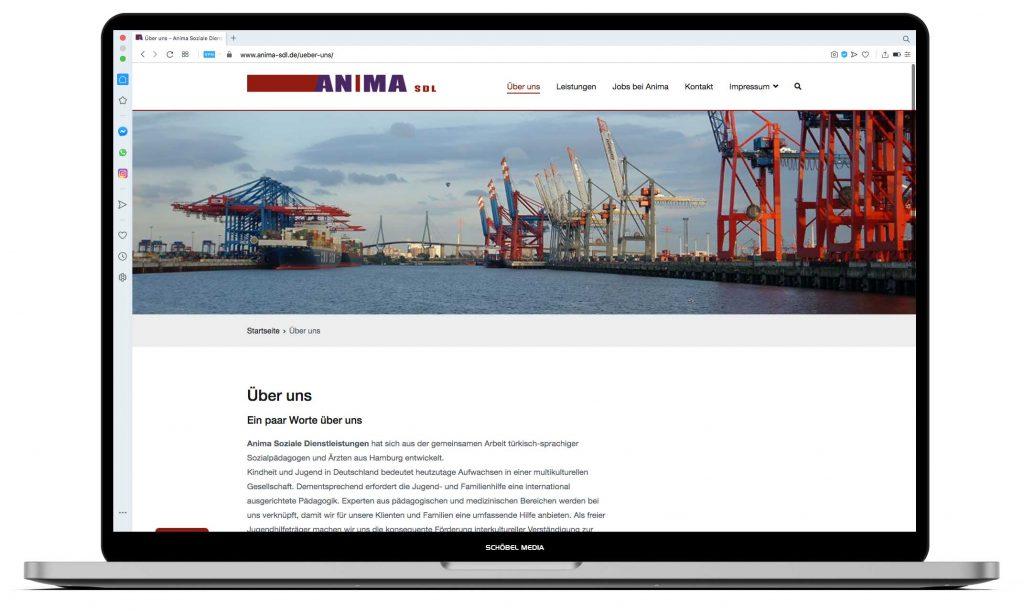 Website für Anima Soziale Dienstleistungen