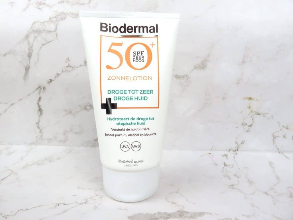 Biodermal zonnelotion droge tot zeer droge huid, atopische huid, droge huid, UVA, UVB, zonbescherming, huidverzorging