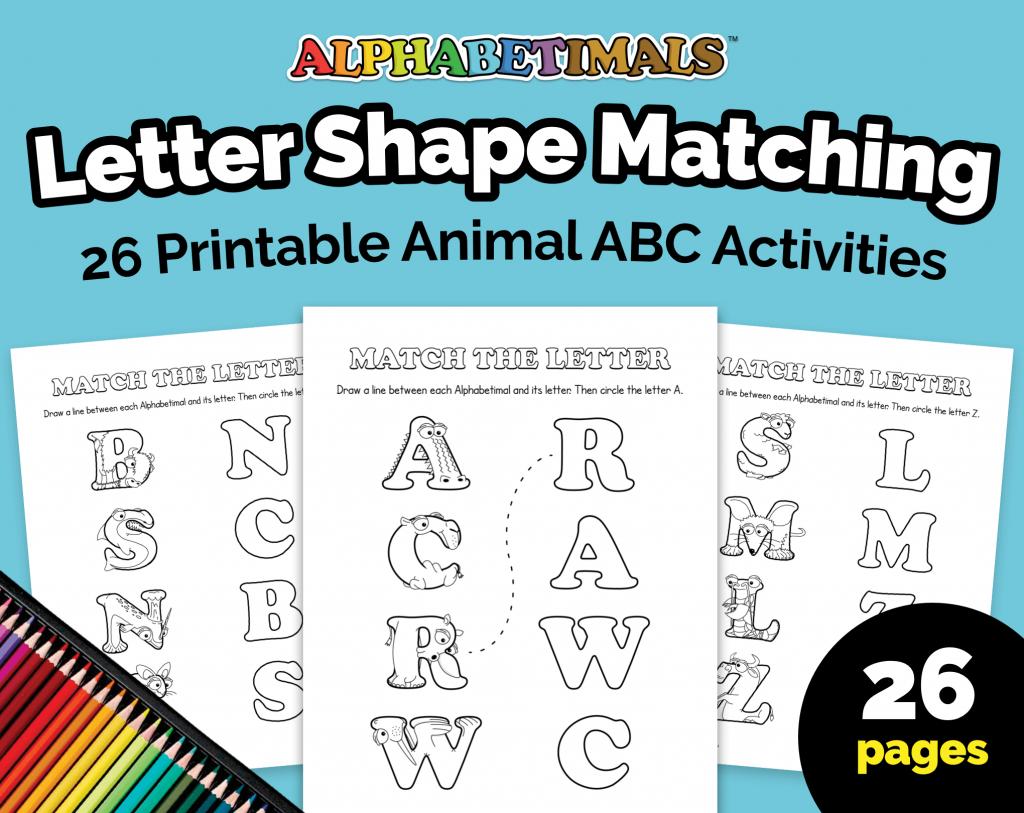 Alphabetimals Latter Shape Matching Worksheets
