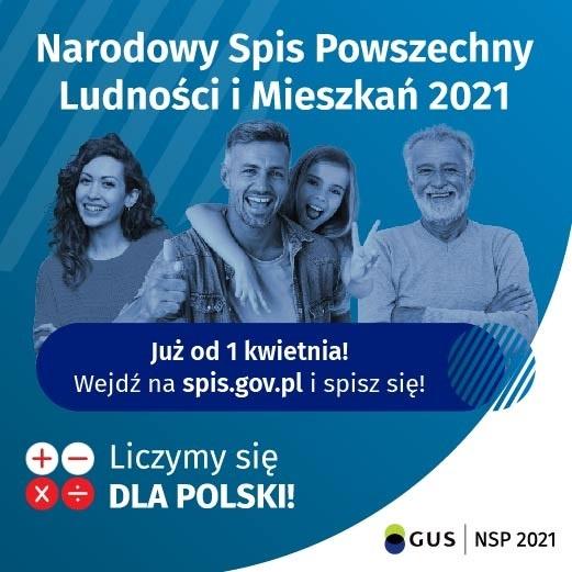 Grafika promująca Narodowy Spis Ludności 2021