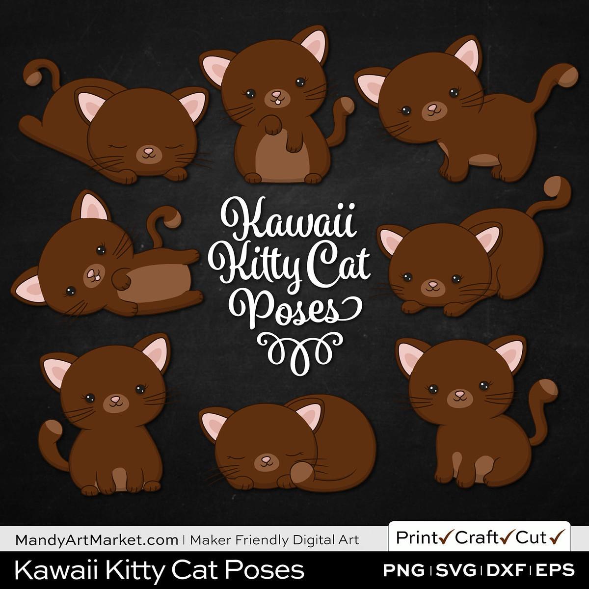 Dark Pecan Brown Kawaii Kitty Cat Poses Clipart on Black Background