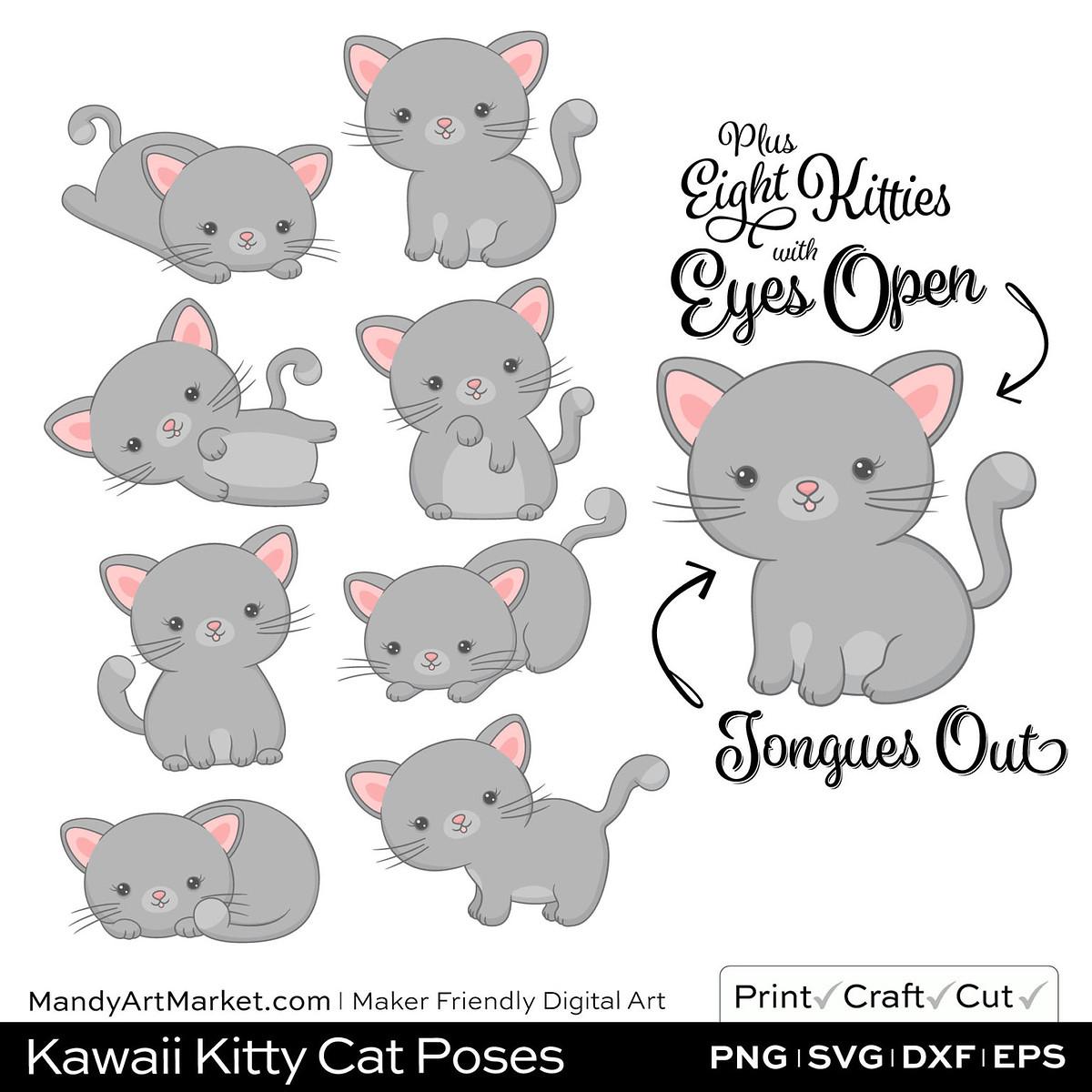 Silver Gray Kawaii Kitty Cat Poses Clipart Examples