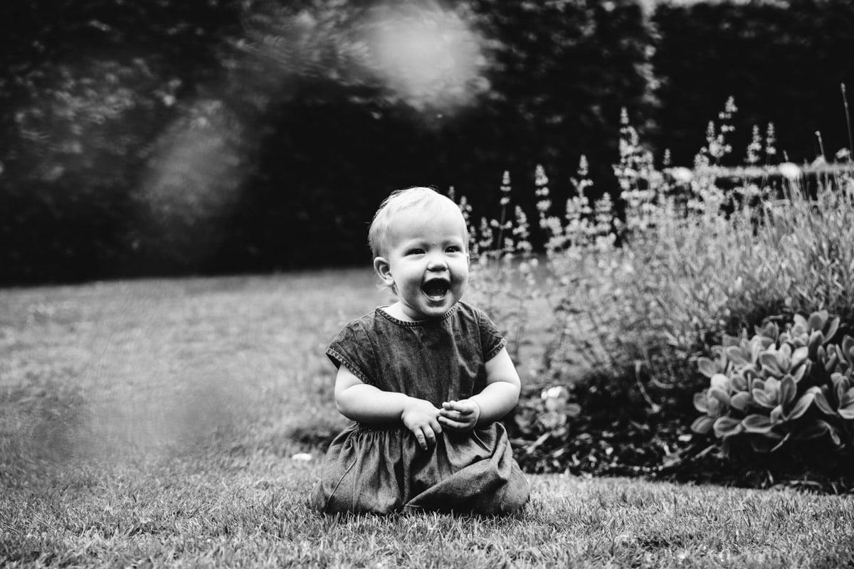 Happy baby in garden