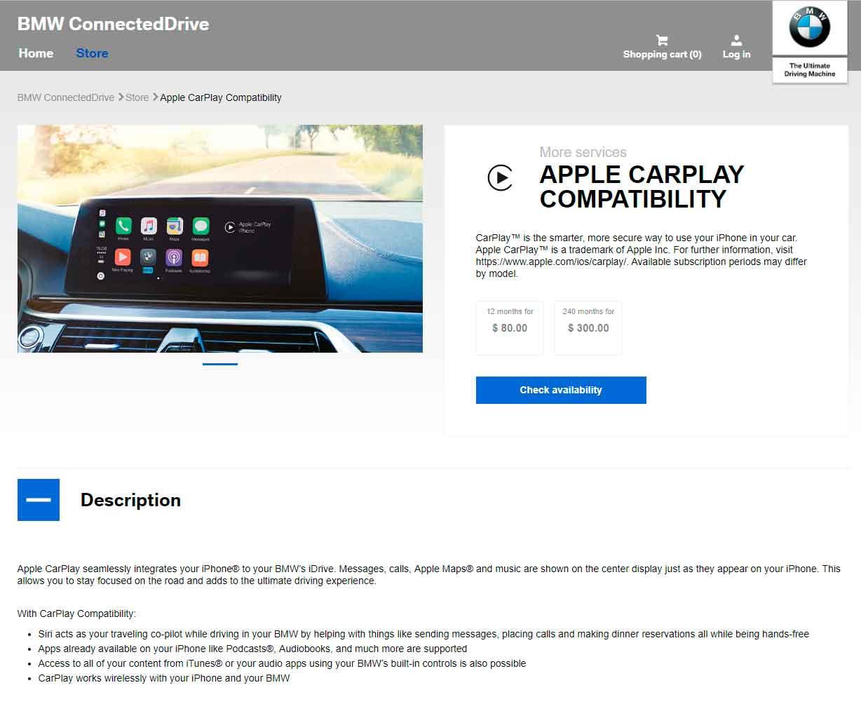 bmw carplay pay for use