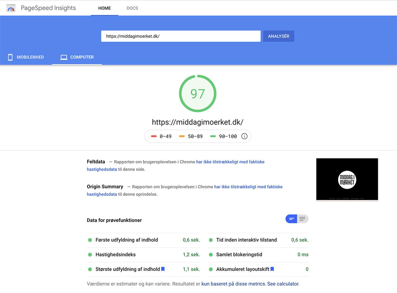 Google PageSpeed Værktøj