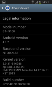 """Jelly Bean """"about"""" screen on Samsung Galaxy S II"""