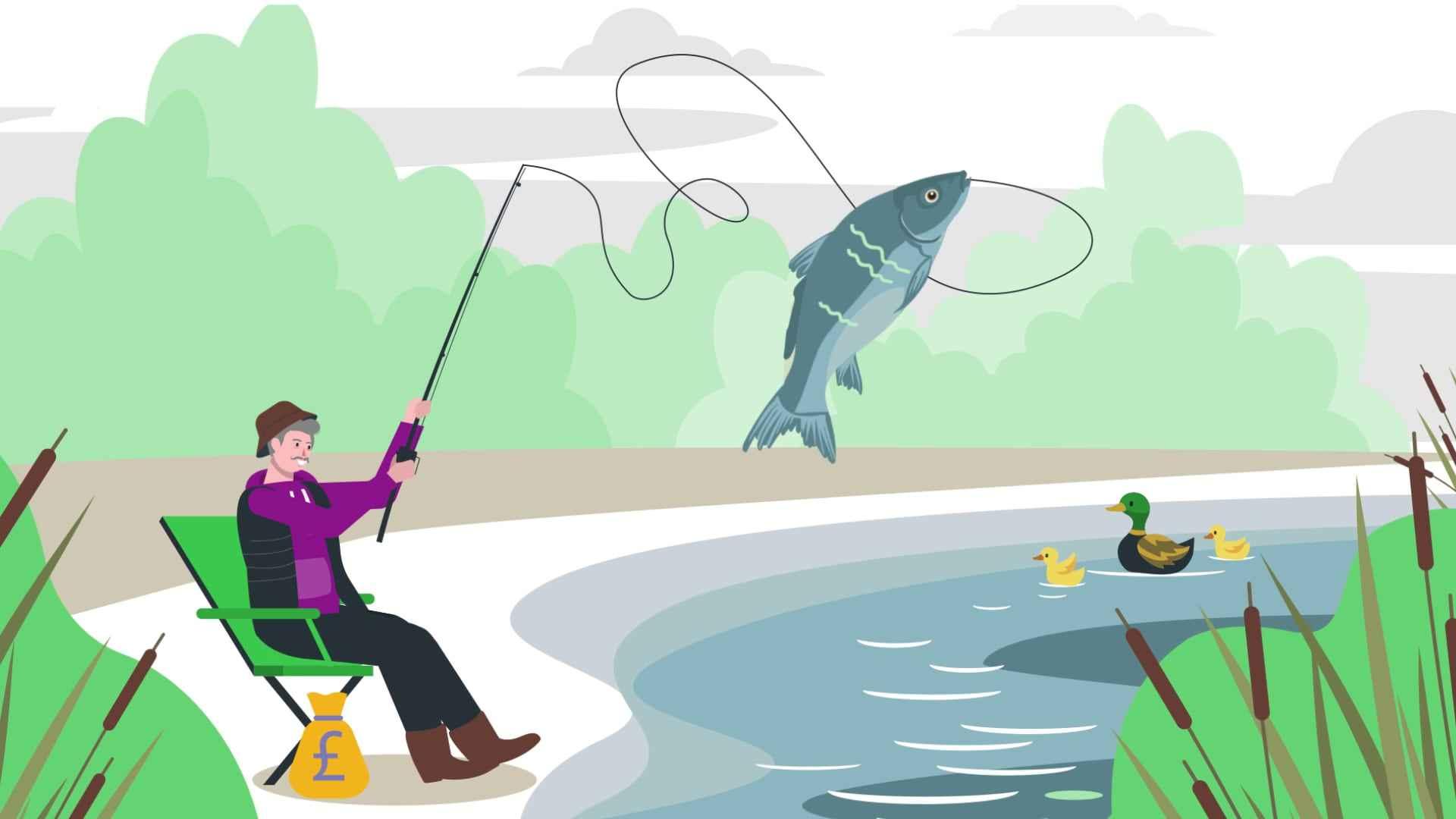 A man caught a big fish - 2D Animation