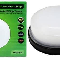 Flash Bulkhead Led Oval Black 12W