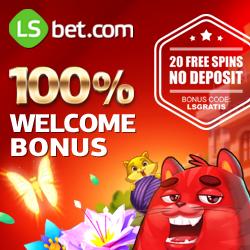 LsBet Casino 20 free spins + 100% up to 300 euro + no deposit bonus