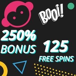 250% bonus and 125 free spins at Booi