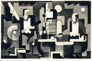 "Benton Spruance, ""Arrangement For Drums"", 1941, an original signed lithograph for sale."
