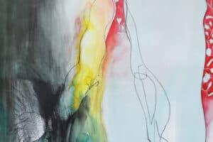 Hosni Radwan, Pomegranate Love, 2014, mixed media on paper, 70 x 50 cm