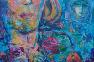 Shafik Radwan, Despair and Hope, 2014, mixed media on canvas, 80 x 60 cm