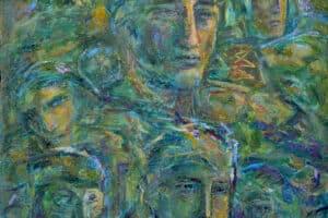 Shafik Radwan, Distant Memories, 2005, mixed media on canvas, 80 x 80 cm
