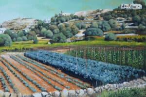 Taqi Sabateen, Halhoul, 2015, acrylic on canvas, 100 x 130 cm