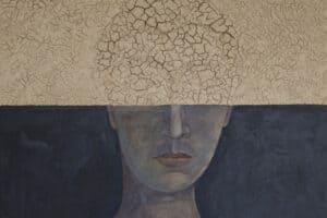 Portrait II, 2018, mud and acrylic on wood, 100 x 100 cm