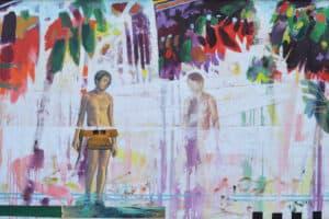Asad Azi, Narkis, 2014, mixed media on canvas, 98 x 158 cm