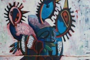 Karim Abu Shakra, Dream I (2017), acrylic on canvas, 212 x 130 cm