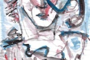 Shafik Radwan, Untitled SR.10 (2014), watercolor on paper, 42 x 30 cm