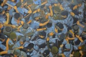 Khaled Hourani, Breaking, 2019, acrylic on canvas, 72 x 99 cm