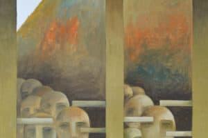 Sliman Mansour, Crossing, 2009, Oil on canvas, 142 x 100 cm