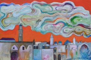 Hosni Radwan, Jerusalem Sky (2021), acrylic on canvas, 79 × 117 cm