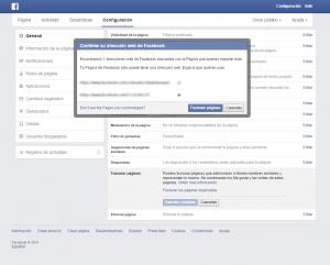 confirmacion fusion paginas facebook