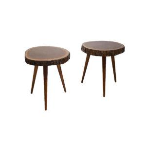 2x Tables d'Appoint en Acajou Massif, 1950s