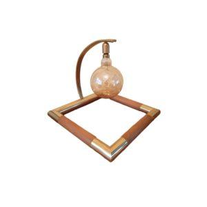 XL Lampe de Table Géométrique en Laiton & Bois, 1970s