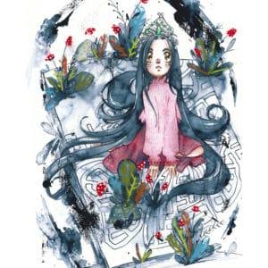 Emperatriz Infantil Hija de la Luna Acuarela y Pastel Imagen Principal