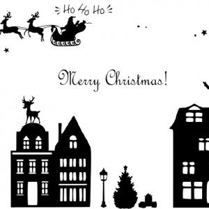Raamsticker Kerst Straatje Huisjes