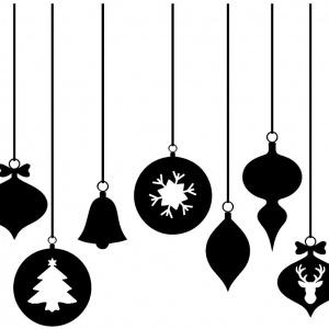 raamsticker kerstballen