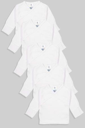 חמישיית חולצות מעטפת לתינוק עם כפפה טריקו/פלנל (0-3 חודשים)