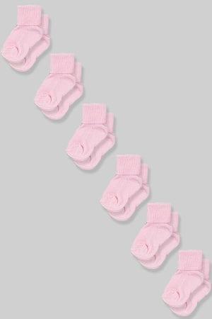 שישיית גרביים לתינוקות - ורוד