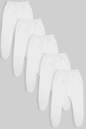 חמישיית רגליות לתינוקות טריקו/פלנל לבן (0-3 חודשים)