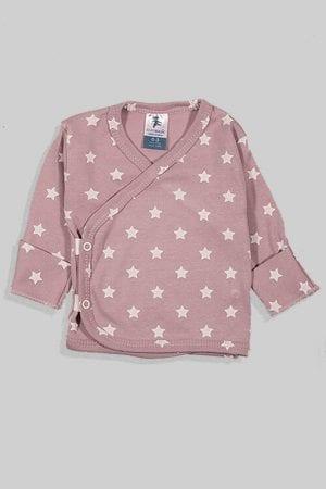 חולצת מעטפת עם כפפה פלנל - בסיס סגול כוכבים (0-3 חודשים)