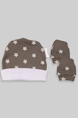 כפפות וכובע לתינוק - בסיס אפור כוכבים (0-3 חודשים)