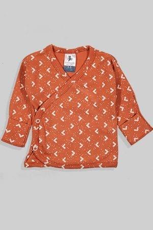 חולצת מעטפת עם כפפה פלנל - בסיס חום משולשים (0-3 חודשים)