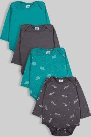 רביעיית בגדי גוף פלנל - חלק דובים נוצות - ירוק אפור (0-2.5 שנים)