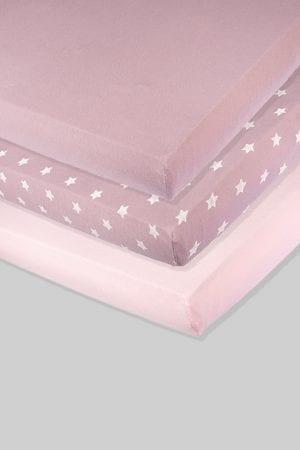 שלישיית סדינים - ורוד כוכבים סגול - מיטת תינוק/מיטת מעבר | עריסה