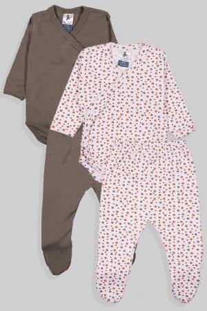 שני סטים בגדי גוף ורגליות לתינוק מעטפת טריקו - חלק נקודות - אפור (0-3 חודשים)