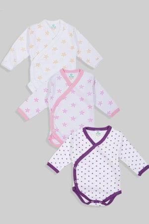 שלישיית בגדי גוף מעטפת טריקו - כוכבים - צהוב ורוד סגול (0-3)