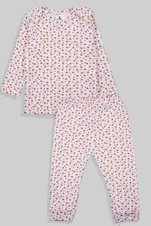 חליפת שינה שרוול ארוך פלנל - נקודות בסיס לבן (3 חודשים - 2.5 שנים)