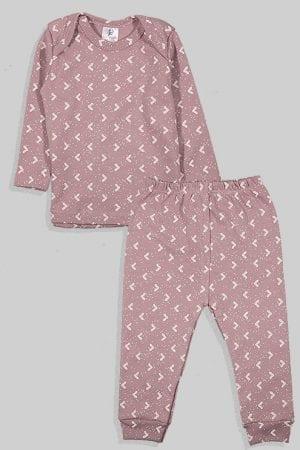 חליפת שינה שרוול ארוך פלנל - משולשים - סגול (3 חודשים - 2.5 שנים)