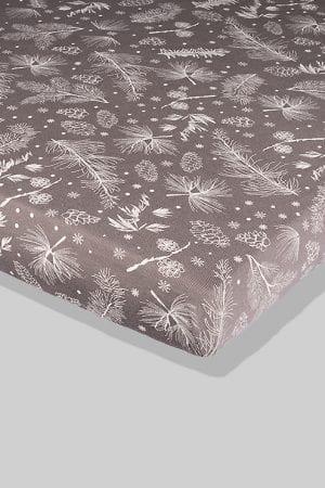 סדין אפור פרחים - מיטת תינוק/מיטת מעבר