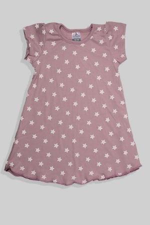 כותונת לילה שרוול קצר - סגול כוכבים (1-4 שנים)