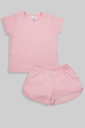 סט חליפת שינה קצר מכנס וחולצה - ורוד חלק (1 - 4 שנים)