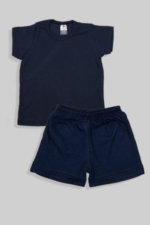 סט חליפת שינה קצר מכנס וחולצה - כחול חלק (1 - 4 שנים)