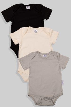 שלישיית בגדי גוף שרוול קצר - חלק - שחור שמנת אפור (3 חודשים - שנתיים)