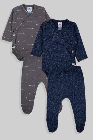 שני סטים בגדי גוף מעטפת ורגליות פלנל - נקודות חיצים - אפור כחול (0-3 חודשים)